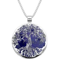 Sterling Silver Lapis Lazuli Large Round Tree Of Life Necklace