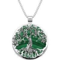 Sterling Silver Malachite Large Round Tree Of Life Necklace