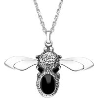 Sterling Silver Whitby Jet Stone Set Body Bee Necklace