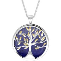 Sterling Silver Yellow Gold Plated Lapis Lazuli Large Round Tree of Life Necklace