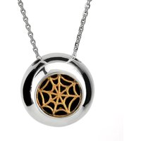 Sterling Silver 9ct Yellow Gold Whitby Jet Round Gothic Web Necklace