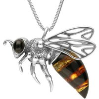 Sterling Silver Amber Large Bee Necklace