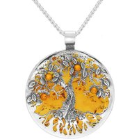 Sterling Silver Amber Large Round Tree Of Life Necklace