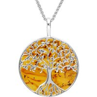 Sterling Silver Amber Round Tree Of Life Necklace