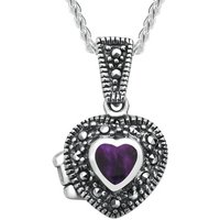 Sterling Silver Blue John and Marcasite Small Heart Locket