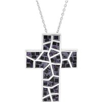 Sterling Silver Blue John Mosaic Set Cross Necklace