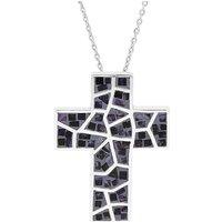 Sterling Silver Blue John Mosaic Set Cross Necklace