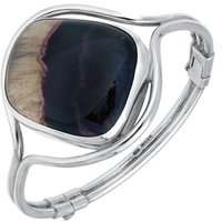 Sterling Silver Blue John Unique Style Hinged Bangle