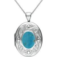 Sterling Silver Turquoise Large Celtic Oval Locket