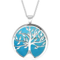 Sterling Silver Turquoise Large Round Tree of Life Necklace
