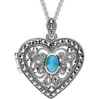 Sterling Silver Turquoise Marcasite Heart Locket Necklace