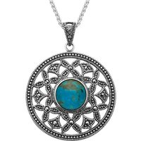 Sterling Silver Turquoise Marcasite Open Circle Necklace