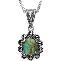 Sterling Silver Turquoise Marcasite Oval Scalloped Edge Necklace