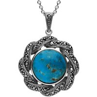 Sterling Silver Turquoise Marcasite Ribbon Edge Necklace