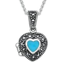 Sterling Silver Turquoise Marcasite Small Bead Edge Heart Locket