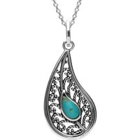Sterling Silver Turquoise Oxidised Teardrop Necklace