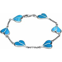 Sterling Silver Turquoise Split Heart Bracelet
