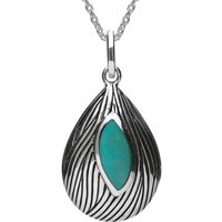 Sterling Silver Turquoise Wave Patterned Necklace