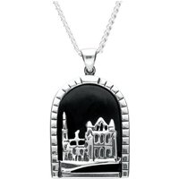 Sterling Silver Whitby Jet Abbey Necklace