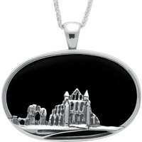 Sterling Silver Whitby Jet Abbey Oval Necklace
