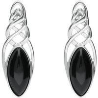Sterling Silver Whitby Jet Celtic Long Marquise Stud Earrings