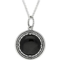 Sterling Silver Whitby Jet Circle Stone Oxidised Large Necklace