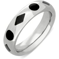 Sterling Silver Whitby Jet Diamond Dot Pattern 6mm Wedding Band