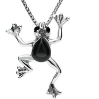 Sterling Silver Whitby Jet Frog Necklace
