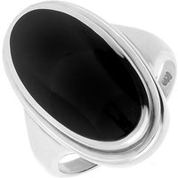 Sterling Silver Whitby Jet Long Oval Top Hat Ring