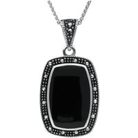 Sterling Silver Whitby Jet Marcasite Curved Oblong Necklace