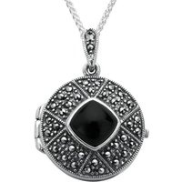 Sterling Silver Whitby Jet Marcasite Cushion Patterned Locket