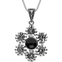 Sterling Silver Whitby Jet Marcasite Floral Necklace