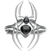 Sterling Silver Whitby Jet and Marcasite Gothic Spider Bangle