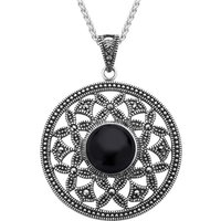 Sterling Silver Whitby Jet Marcasite Open Circle Necklace
