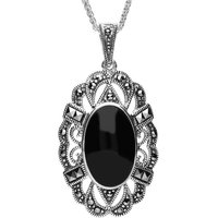 Sterling Silver Whitby Jet Marcasite Oval Lace Edge Necklace