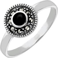 Sterling Silver Whitby Jet Marcasite Beaded Edge Ring