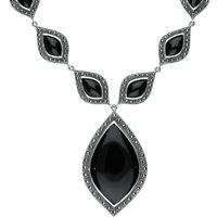 Sterling Silver Whitby Jet Marcasite Seventeen Pear Drop Necklace