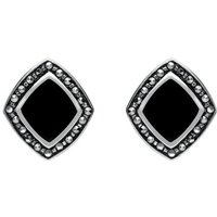 Sterling Silver Whitby Jet Marcasite Wide Rhombus Framed Stud Earrings