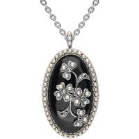 Sterling Silver Whitby Jet Pearl Large Oval Flower Brooch Necklace