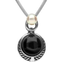Sterling Silver Whitby Jet Pearl Two Stone Rope Edge Necklace