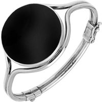 Sterling Silver Whitby Jet Round Hinged Bangle