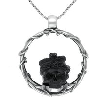 Sterling Silver Whitby Jet Skull And Snake Necklace