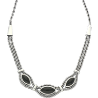 Sterling Silver Whitby Jet Three Stone Marquise Foxtail Necklace