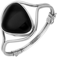 Sterling Silver Whitby Jet Unique Style Hinged Bangle