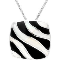 Sterling Silver Whitby Jet and Mother of Pearl Wavy Line Cushion Necklace
