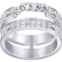 Swarovski Rhodium White Crystal Ficton Ring Size 52 D