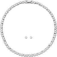 Swarovski Tennis Necklace Earring White Rhodium Plated Set