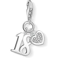 Thomas Sabo Charm Club Sterling Silver Diamond Lucky Number 18 Charm D