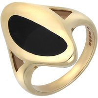 9ct Yellow Gold and Whitby Jet Freeform Oval Shape Ring
