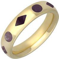9ct Yellow Gold Blue John Diamond Dot Pattern Wedding Band Ring